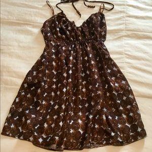 Gorgeous 110% silk pale blue/brown dress